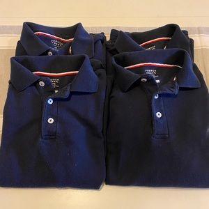 4 long sleeve boys navy blue uniform polos